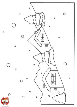 Coloriage: imprime vite ce beau dessin de paysage de montagne sous la neige avec TFou.fr . Colorie le selon tes envies pour décorer ta chambre pour les vacances de février !