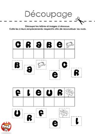 Coloriage: Crabe et fleur