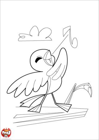 Coloriage: Oiseau chanteur