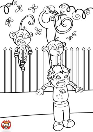 Coloriage: Les singes blagueurs