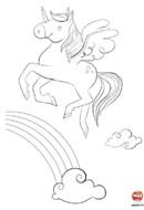 Coloriage-La licorne et l'arc-en-ciel