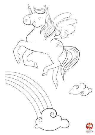 Oh une licorne dans le ciel ! Il est beau ce coloriage gratuit à imprimer sur TFou.fr. Une jolie petite licorne qui galope dans les airs avec ses petites ailes. Un arc-en-ciel sort du nuage sous la licorne. As-tu envie de colorier cette jolie licorne ? Tu peux imprimer ce coloriage gratuitement sur TFou.fr et autant de fois que tu le souhaites ! Alors arme-toi de tes crayons de couleurs ou de tes feutres et à toi de jouer ! Amuse-toi ! Tu peux mettre toutes les couleurs de l'arc-en-ciel dans ton coloriage de licorne.
