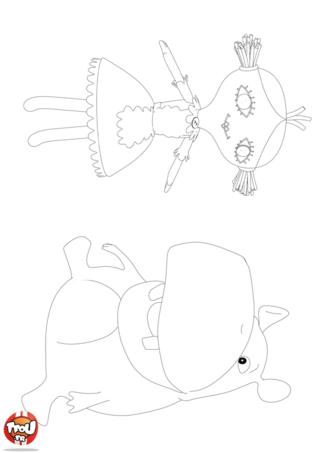 Coloriage: La poupée et l'hippo