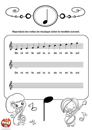 Coloriage: Les notes de musique