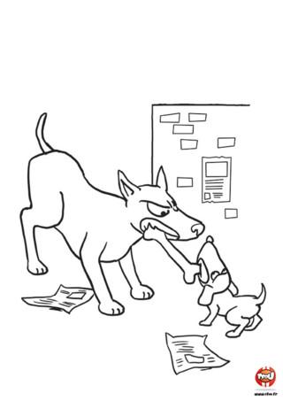 Woaf woaf ! Grand chien n'est pas content, bébé chien a piqué son repas ! Certes ils sont énervés, mais pas de panique, ils ne vont pas te mordre ! Afin de les calmer, TFou.fr te propose d'imprimer gratuitement ce coloriage ! Donne-leur de la couleur, cela leur fera du bien. Découvre également, une grande série de coloriages de chiens spécialement conçus pour toi sur TFou.fr ! A bientôt sur TFou.fr