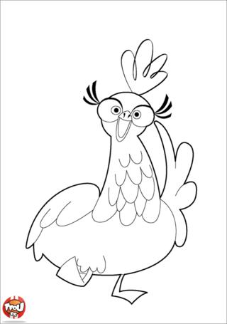 Coloriage: Poule joyeuse