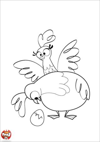 Coloriage: Poules et oeuf