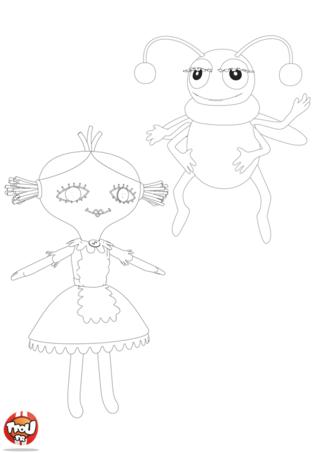Coloriage: La poupée et l'insecte