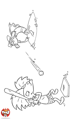 Coloriage: Arnold joue au baseball