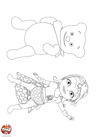 Coloriage: Copain ours et Super Bébé Lilly