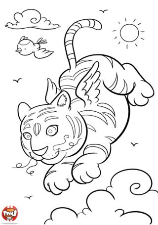 Coloriage: Tigre ailé