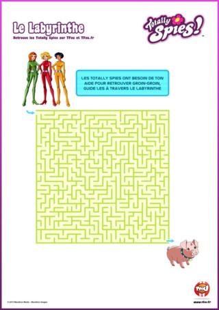 """Activité : Découvre vite le contenu exclusif de ton épisode """" La fureur des poupées Mandy """" de la saison 6 des Totally Spies. Imprime gratuitement ton labyrinthe. Les Totally Spies ont besoin de ton aide pour retrouver Groin-Groin. Guide-les à travers le labyrinthe. Rejoins Alex, Sam et Clover et amuse-toi à retrouver Groin-Groin dans le labyrinthe. Imprime plein d'autres activités et coloriages de ta série préférée sur TFou.fr. Regarde un épisode inédit des Totally Spies chaque mercredi sur TFou."""