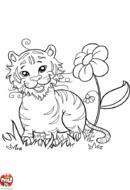 Tigre avec fleur