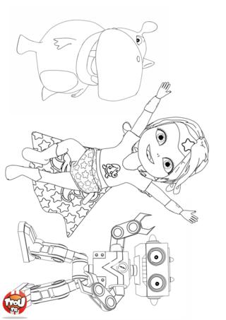 Coloriage: Super Bébé Lilly et ses copains Ours et Robot