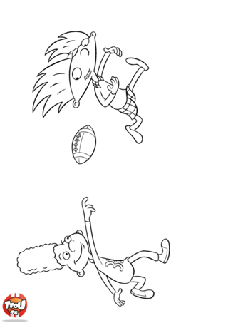 Coloriage: Arnold joue au rugby