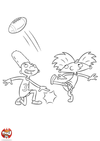 Coloriage: Arnold joue au rugby 3