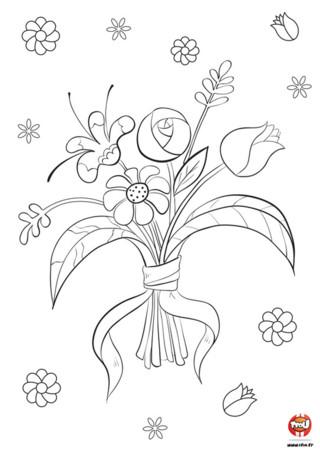 Célèbre le beau temps sur TFou.fr avec ce super coloriage gratuit à imprimer ! Il représente un joli bouquet de fleur, que tu pourras imprimer et offrir aux gens que tu aimes. Tu peux aussi l'afficher sur ton mur pour fleurir ta chambre. Colorie-le de toutes les couleurs, pour un bouquet de fleur respirant le bonheur. Du rouge, du rose, du vert...les plus belles couleurs de la terre, à utiliser selon tes goûts pour réaliser ton beau coloriage à imprimer sur TFou.fr.