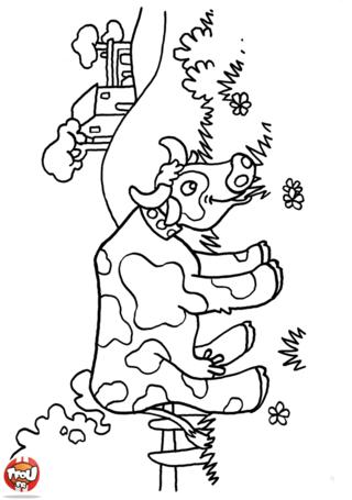 Coloriage: Vache qui broute