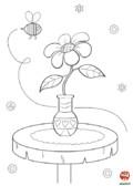 Coloriage-Fleurs-La fleur et l'abeille