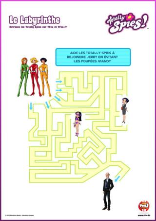 """Activité : Découvre vite le contenu exclusif de ton épisode """" La fureur des poupées Mandy """" de la saison 6 des Totally Spies. Imprime gratuitement ton labyrinthe. Aide les Totally Spies à rejoindre Jerry en évitant les poupées Mandy. Guide- les à travers le labyrinthe. Rejoins Alex, Sam et Clover et amuse-toi à retrouver Jerry dans le labyrinthe. N'oublie pas, tu peux imprimer plein d'autres activités et coloriages des Totally Spies sur TFou.fr. Regarde un épisode inédit des Totally Spies chaque mercredi sur TFou."""