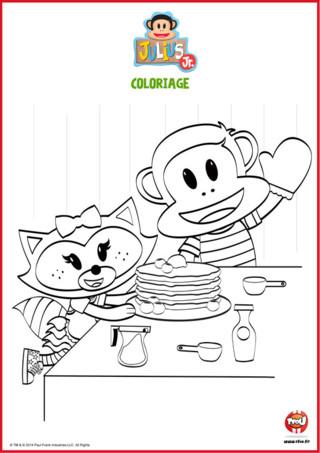 Coloriage : Julius Jr et Chouquette font des crêpes