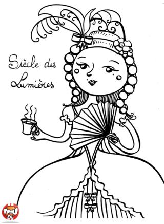 Coloriage: Dame du Siècle des Lumières
