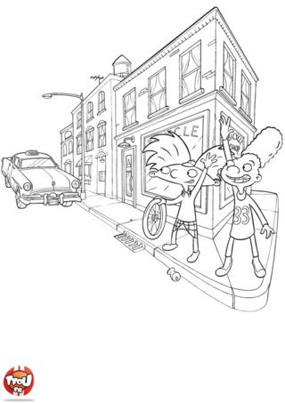 Coloriage: Gérald et Arnold prennent le taxi