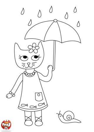 Coloriage: Petite chatte sous la pluie