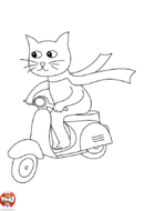 Le chat sur son scooter