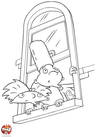 Coloriage: Gérald et Arnold à la fenêtre
