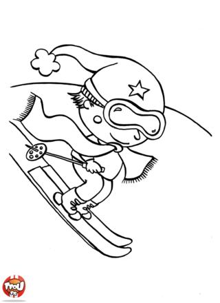 Sur la piste de ski, Téo, le skieur, s'en donne à coeur joie. Toi aussi, tu feras peut-être du ski durant les vacances de février ? Imprime et colorie ce coloriage d'hiver.