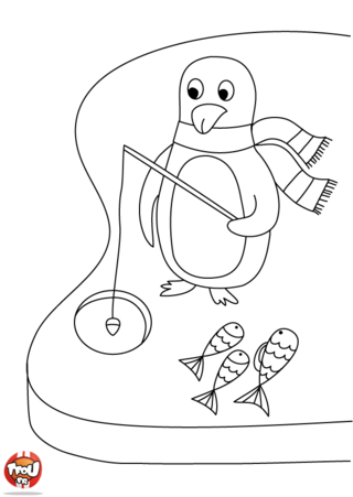 Coloriage: Pingouin pêche