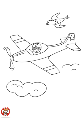 Coloriage: Avion de course