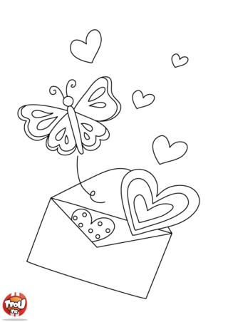 Coloriage : Quel cadeau vas-tu préparer pour la fête de ta maman ? Des fleurs, des chocolats ? TFou.fr te propose plein de jolis coloriages pour souhaiter une bonne fête des mères à ta maman. Cette jolie carte est pleine d'amour pour ta maman. Ce petit papillon et les coeurs feront très plaisir à ta maman pour la fête des mères. Pour la fête des mères, imprime gratuitement plein de coloriages fête des mères sur TFou.fr.