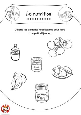 Coloriage: Ingrédients petit déjeuner