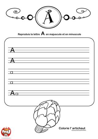 Coloriage: La lettre A en minuscule et majuscule