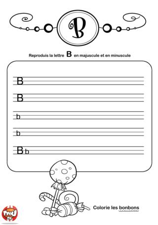 Coloriage: La lettre B en minuscule et majuscule