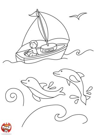 Coloriage: balade en voilier