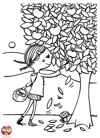 Coloriage: Cueillette des pommes