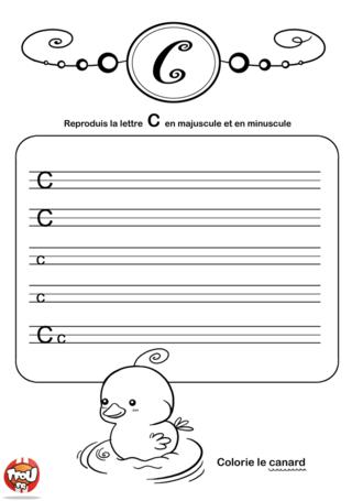Coloriage: La lettre C en minuscule et majuscule