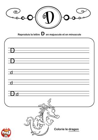 Coloriage: La lettre D en minuscule et majuscule