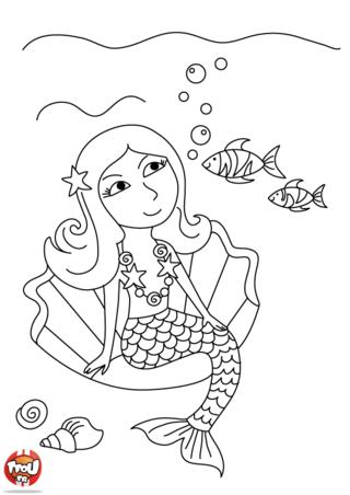 Coloriage: Une sirène rêveuse