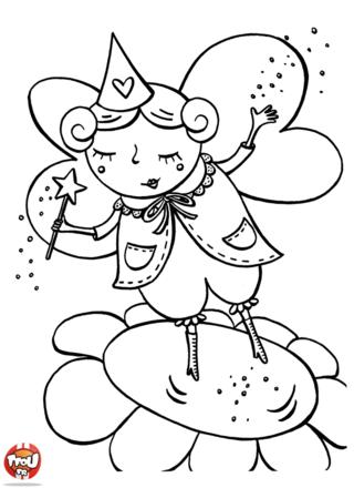 Coloriage: Elfe sur une fleur