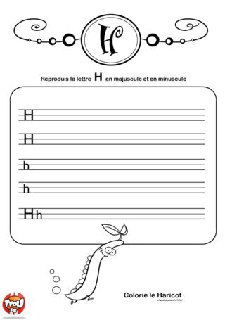 Coloriage: La lettre H en minuscule et majuscule