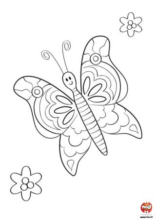 Comme il est mignon ce petit papillon. Il vole dans les airs avec ses grandes ailes. Tu as vu les beaux motifs sur ses ailes ? Il en a de la chance d'avoir de si belles ailes ! Tu as envie de les colorier ? Va vite sur TFou.fr et imprime ce joli coloriage de papillon pour enfant. Équipe-toi de tes plus beaux crayons de couleurs ou de tes feutres et ajoute les couleurs de ton choix. Bleu, rouge, jaune... amuse-toi !