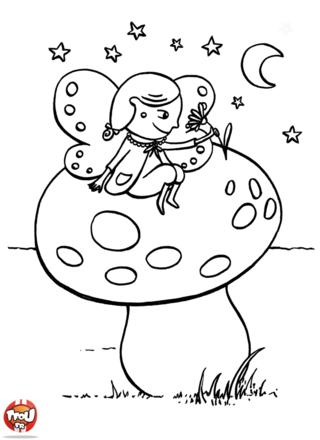 Coloriage: Elfe sur un champignon