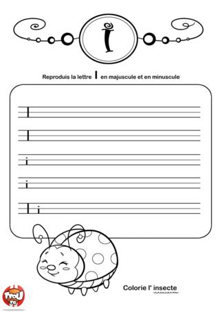 Coloriage: La lettre I en minuscule et majuscule