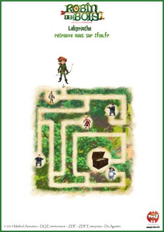 Activité : imprime gratuitement ce super labyrinthe pour enfants sur TFou.fr. Joue à ton jeu, aide Robin à retrouver le précieux trésor. Attention, il n'y a qu'un seul chemin qui te guidera au trésor, les autres te mèneront vers le prince Jean ou les soldats. Sois vigilant pour guider au mieux Robin à travers la forêt de Sherwood. Retrouve les aventures de Robin des Bois sur TFou et TFou.fr. Si tu aimes cette activité, tu pourras en trouver d'autres sur le site TFou.fr. A toi de t'amuser !