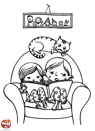 Coloriage: Frère et soeur font la lecture