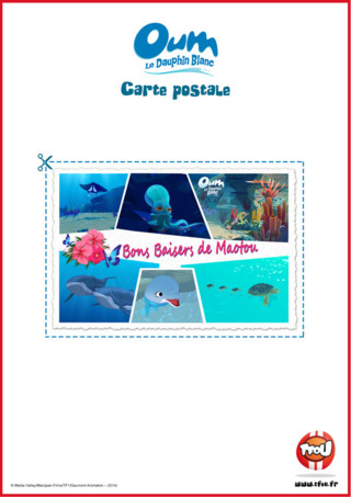 Imprime gratuitement cette belle carte postale et découvre les fonds marins dans lesquels nage ton héros TFou Oum le Dauphin Blanc!